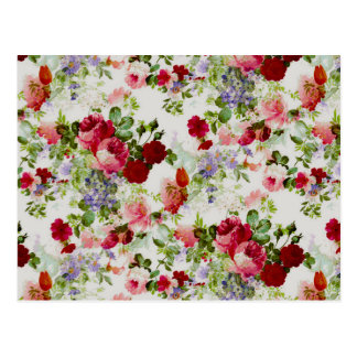 Trendy Vintage Red and Pink Floral Print Postcard