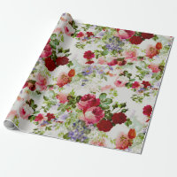 Trendy Vintage Red and Pink Floral Print Wrapping Paper