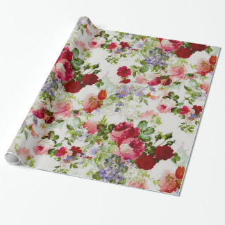 Trendy Vintage Red and Pink Floral Print Gift Wrap Paper