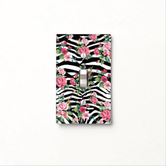 trendy vintage roses and zebra stripes pattern light switch cover