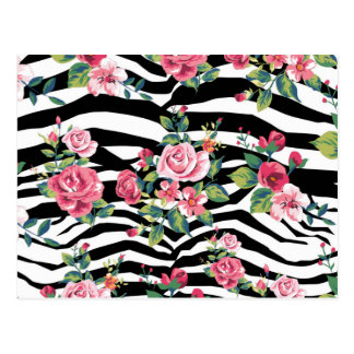 trendy vintage roses and zebra stripes pattern postcard
