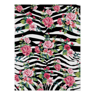 trendy vintage roses and zebra stripes pattern posters