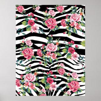 trendy vintage roses and zebra stripes pattern poster