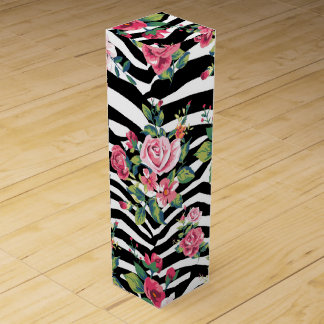 trendy vintage roses and zebra stripes pattern wine gift box