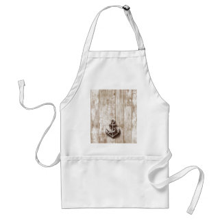 Trendy vintage rustic nautical anchor wooden adult apron