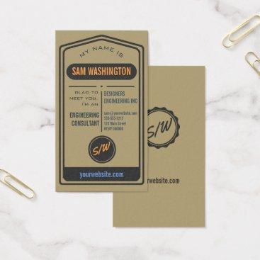 Professional Business Trendy Vintage Typography Custom Template Kraft Business Card
