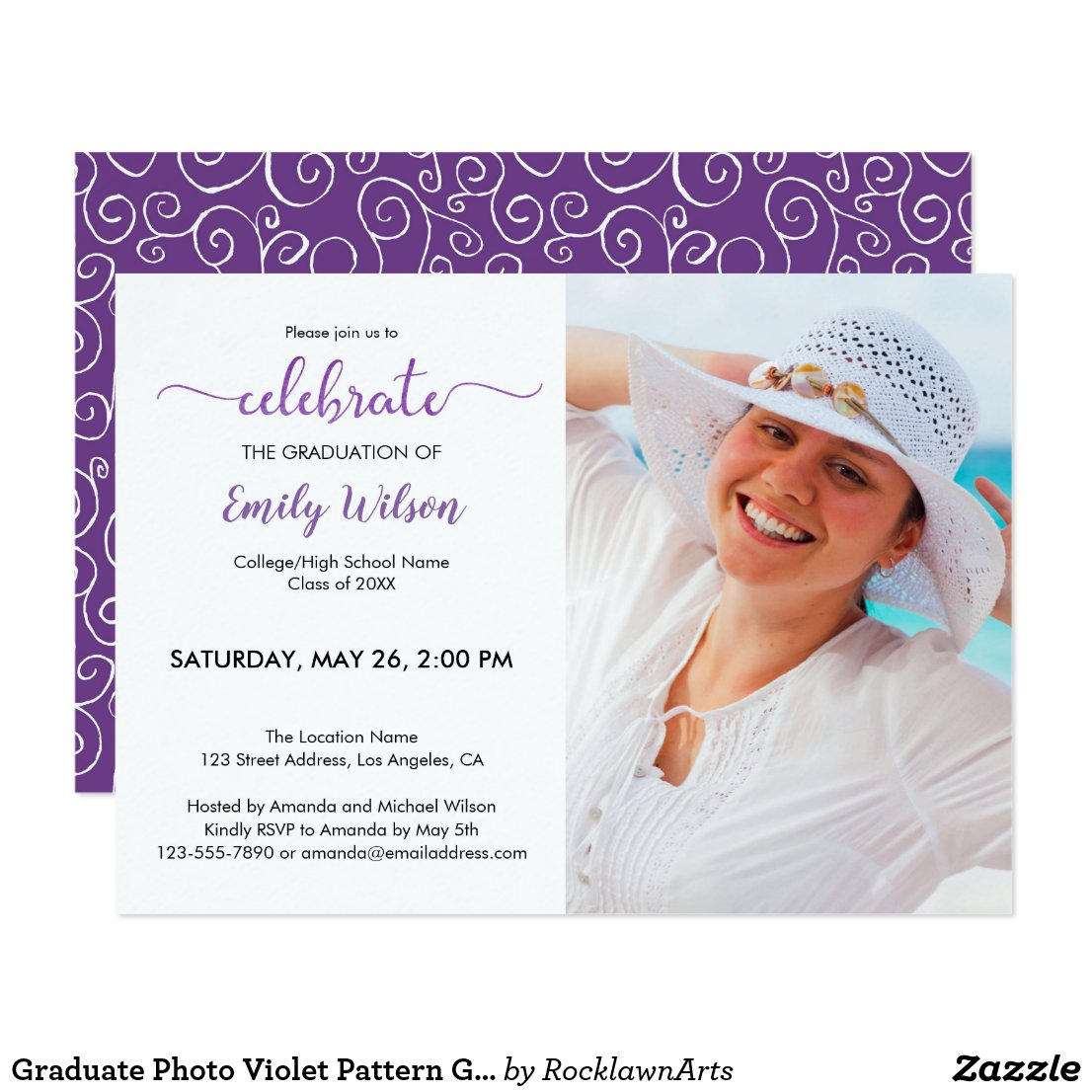 Trendy Violet Graduate Photo Graduation Invitation