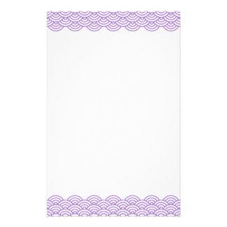 Trendy violet Japanese wave pattern stationery