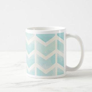 Trendy,water colour,chevron,zig zag,turqouise,mint classic white coffee mug