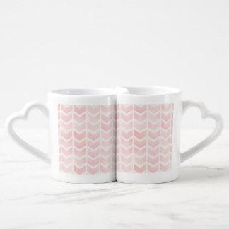 trendy,water colour,pink,chevron,zig zag,trendy, couples' coffee mug set