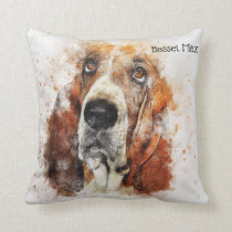 Trendy Watercolor Basset Hound Personalized Throw Pillow