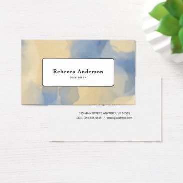 Beach Themed Trendy Watercolor Blue & Tan Business Card