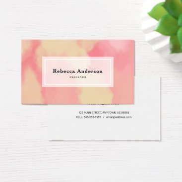 Beach Themed Trendy Watercolor Blush and Tan Business Card