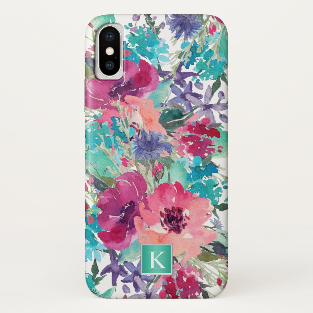 Trendy Watercolor Floral Pattern with Monogram iPhone X Case