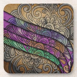 Trendy Watercolor Floral Print Beverage Coasters