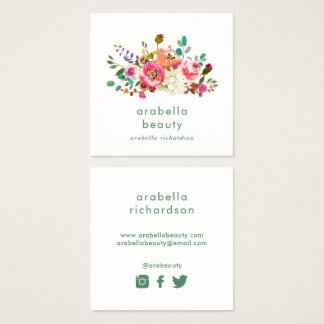 Trendy Watercolor Floral | Social Media Icons Square Business Card