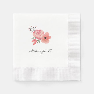 Trendy Watercolor Flowers Baby Shower Napkin