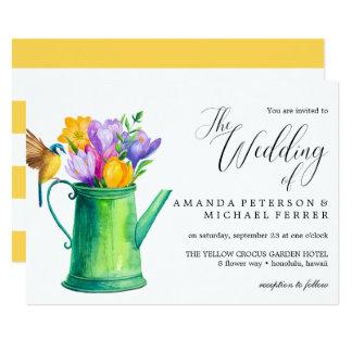 Trendy Watercolor Flowers watering can  wedding Card