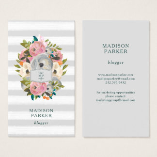 Trendy Watercolor Flowers with Chic Gray Stripes Business Card