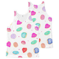 Trendy watercolor hand painted donuts food pattern All-Over-Print tank top
