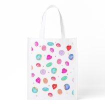 Trendy watercolor hand painted donuts food pattern reusable grocery bag