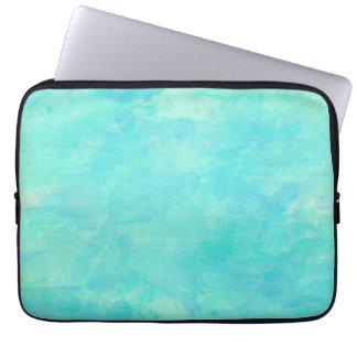 Trendy Watercolor Paint Background, Aqua Green Laptop Sleeve