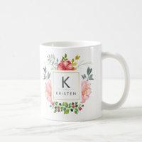 Trendy Watercolor Peony Flowers Monogram Mug