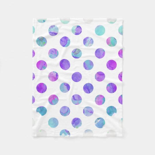 violet polka dots trendy watercolor pink aqua and purple polka dot fleece blanket