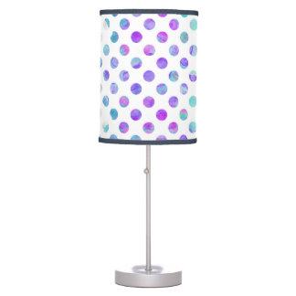 Trendy Watercolor Pink, Aqua, and Purple Polka Dot Table Lamp