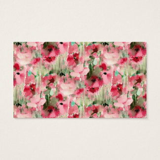 Trendy Watercolor Red and Pink Vintage Floral Business Card