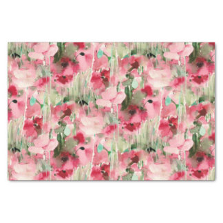 """Trendy Watercolor Red and Pink Vintage Floral 10"""" X 15"""" Tissue Paper"""
