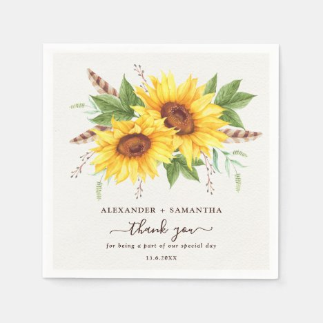 Trendy Watercolor Sunflowers Boho Summer Floral Napkin