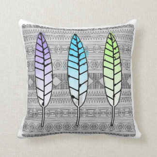 Trendy Watercolor Tribal Feather Pillow