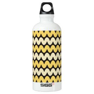 Trendy Wavy Stripes - Yellow On Black Water Bottle