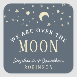 Trendy We Are Over The Moon Typography Baby Shower Square Sticker
