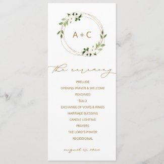 Trendy Wedding Gold Geometric Greenery Watercolor Program