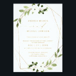 "Trendy Wedding Invite Geometric Greenery Faux Foil<br><div class=""desc"">This trendy wedding invitation pairs a modern faux gold foil geometric frame with watercolor eucalyptus and white floral bridal bouquets. Paired with a beautiful airy script and a clean sans serif font,  this wedding invitation is sure to wow all of your guests!</div>"