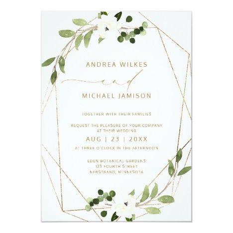 Trendy Wedding Invite Geometric Greenery Faux Foil