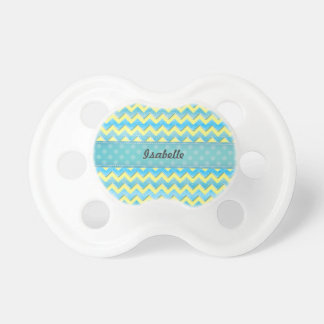 Trendy whimsical yellow chevron turquoise glitter pacifier