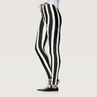 Trendy White And Black Vertical Stripes Leggings