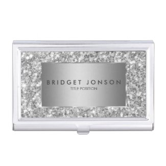 Trendy white And Gray Sparkling Glitter Case For Business Cards