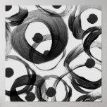 Trendy white black watercolor brushstrokes dots poster