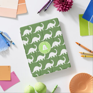 Trendy White Brontosaurus Dinosaurs Personalized iPad Smart Cover
