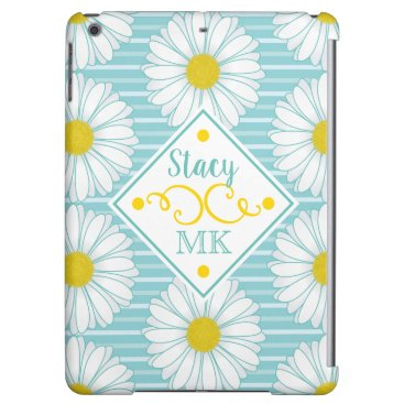 Trendy White Daisies Monogram Floral Teal Stripes Case For iPad Air