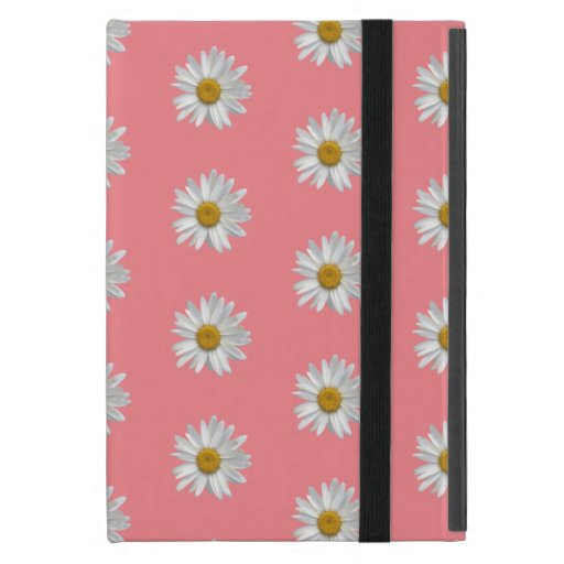 Trendy White Daisies Pattern Cute Pink Case For iPad Mini