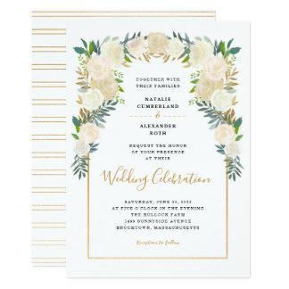 Trendy White Floral Peonies wedding celebration Invitation