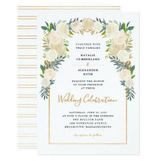 Trendy White Floral Peonies wedding celebration Invitation