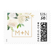 Trendy white floral wedding monogram postage