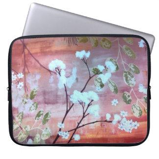 Trendy white flowers Neoprene Laptop Sleeve 15 inc