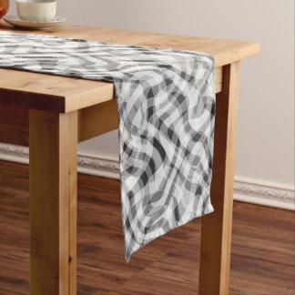 Trendy White Gray Black Retro Wavy Stripes Pattern Medium Table Runner